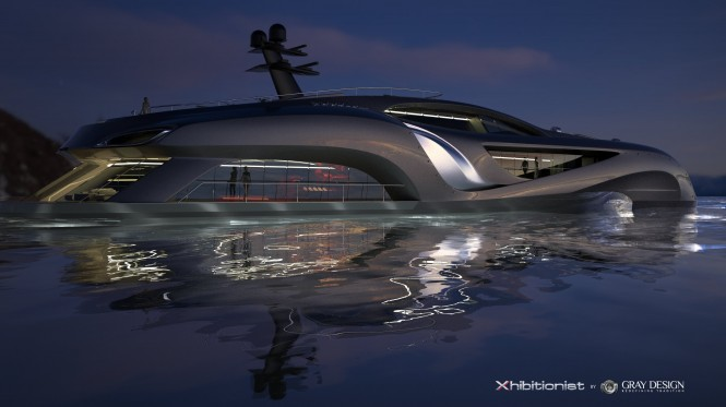 Luxury yacht Xhibitionist concept at night