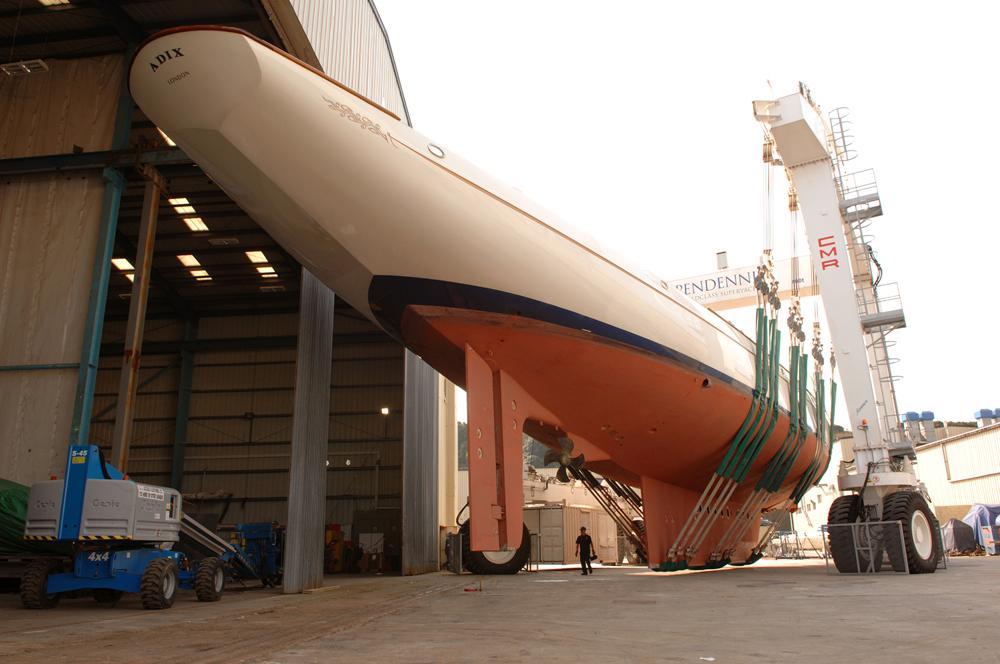 Major refit of the 228' three-masted sailing yacht Adix at Pendennis