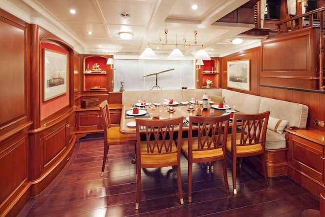 Kamaxitha ketch - lower salon and dining area - Photo by Cory Silken