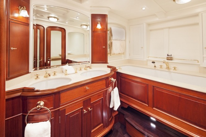 Owner's bathroom - sailing yacht Kamaxitha - Photo by Cory Silken