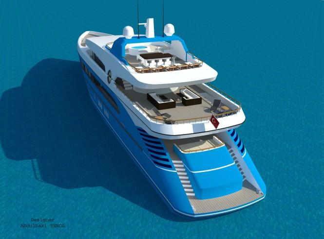 55m Senol Sport Superyacht Design - aft view