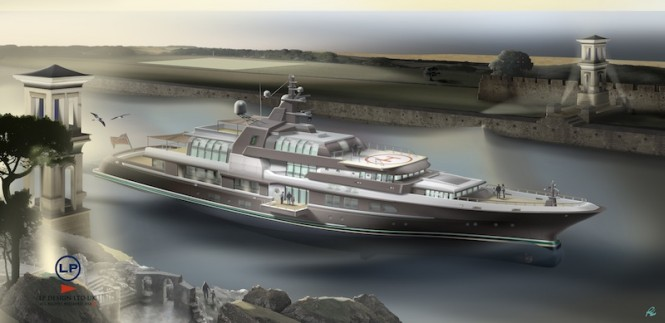 LP Design created 72m Ocean Atrium superyacht concept - Render