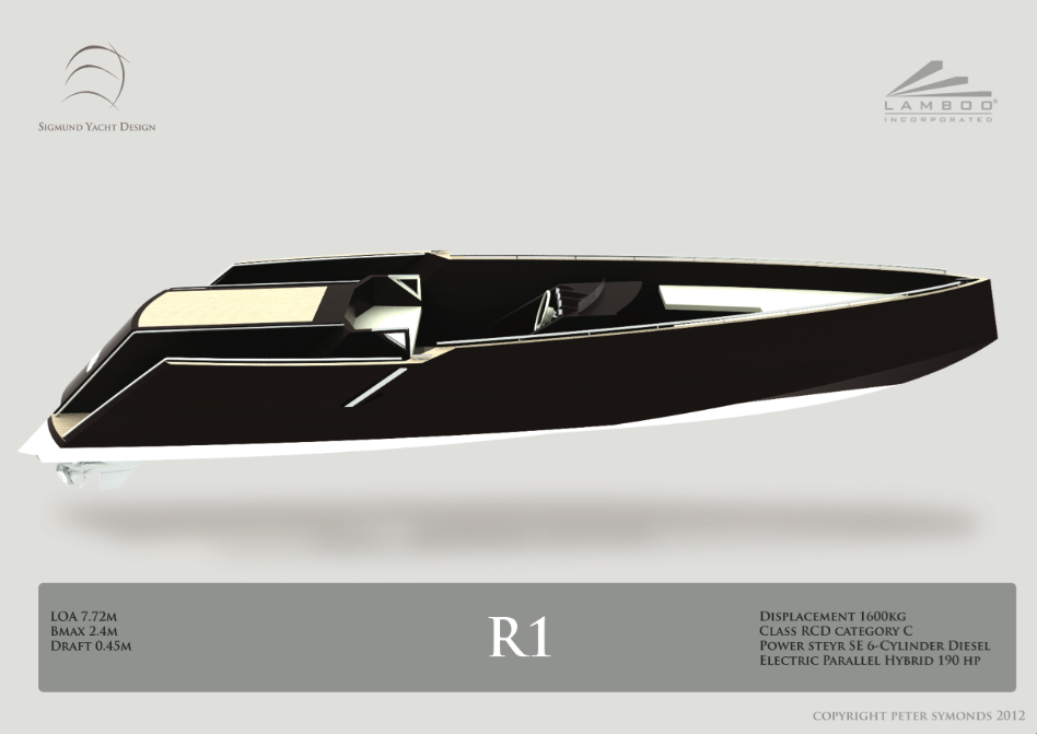 Lamboo R1 yacht tender designed by Peter Symonds from Sigmund Yacht Design - Credit Peter Symonds 2012