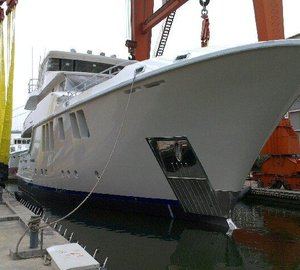 Launch of first Nordhavn 120 Yacht AURORA into test tank