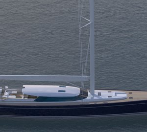 Royal Huisman launch 43m sailing yacht BLUE PAPILLON (hull 391)