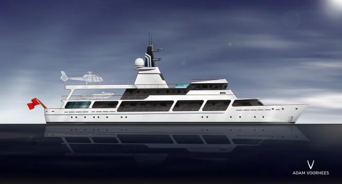 Adam Voorhees designed conversion proposal for 65m mega yacht Van Triumph