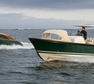 Andrew Winch designed Hull 415 Open and Hull 416 Limo Yacht Tenders delivered by Hodgdon Yachts