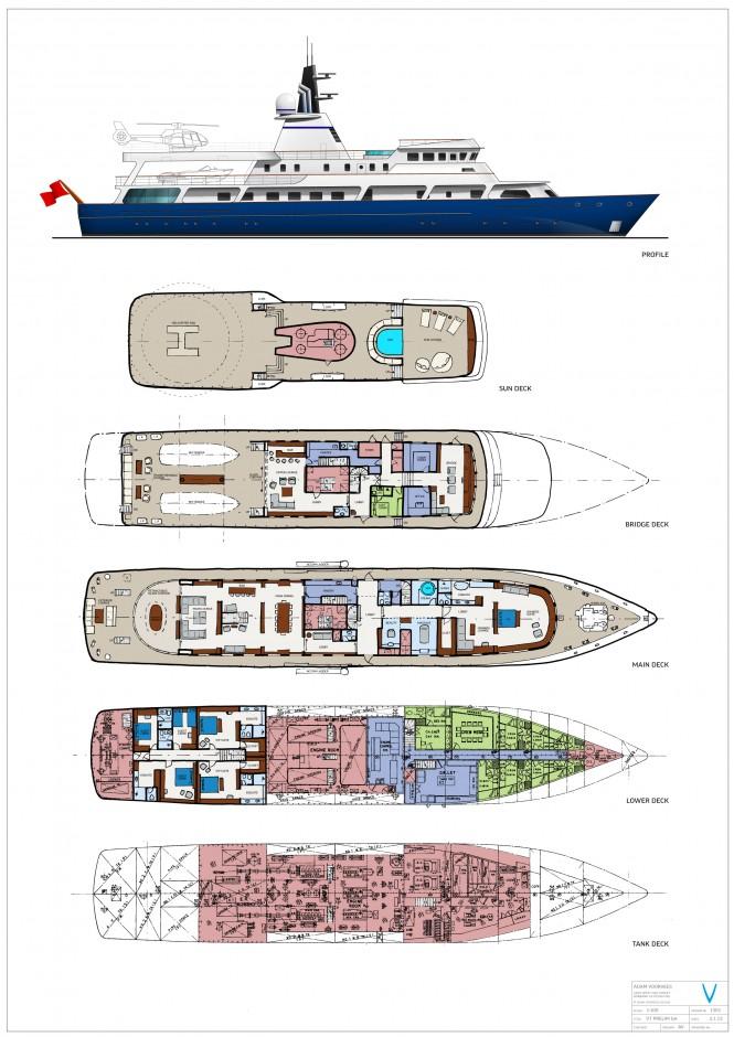 Conversion proposal for 65m luxury yacht Van Triumph - Layout