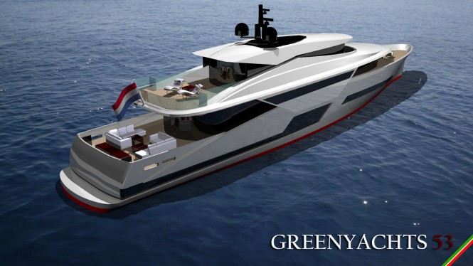 LGH 53 Hybrid Yacht Concept - aft view