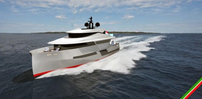 Luxury superyacht LGH 53 Hybrid concept at full speed