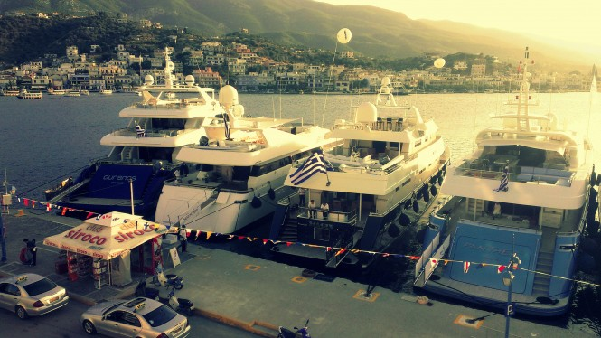 Luxury yachts at East Med Yacht Show on Poros