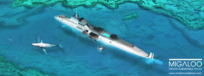 Private submersible yacht MIGALOO concept by motion code: blue