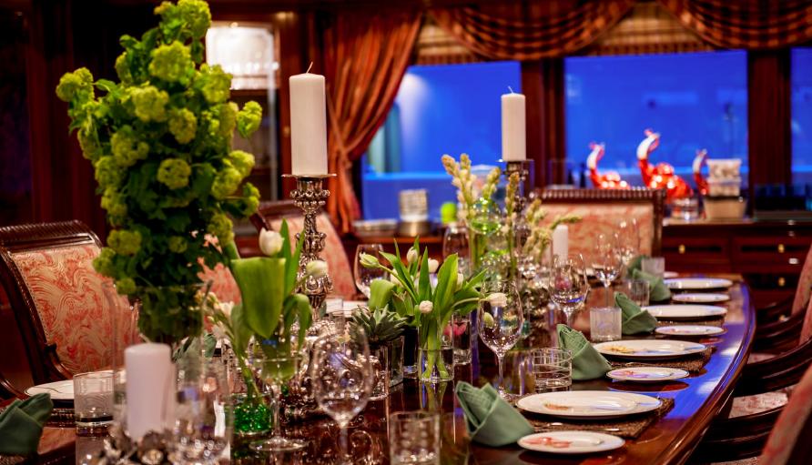 Table setting aboard superyacht Titania