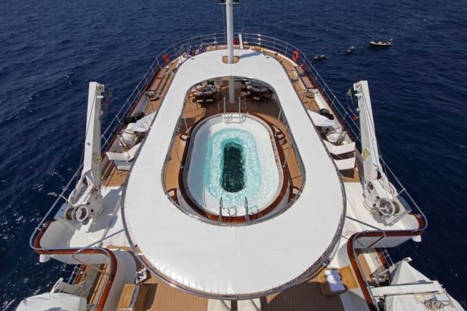 The Glass-bottom Spa Pool aboard Sherakhan yacht