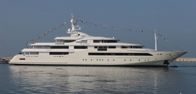 80m mega yacht Chopi Chopi at launch