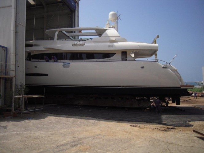 Newly refitted superyacht Phoenix leaving the shed
