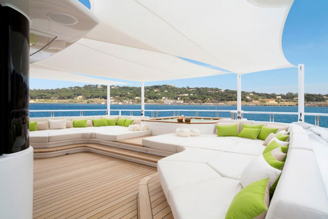 Sun Deck on mega yacht MOGAMBO