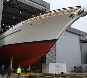 Majestic 63,5m Dream Ship Victory mega yacht MIKHAIL S. VORONTSOV leaves Balk Shipyard