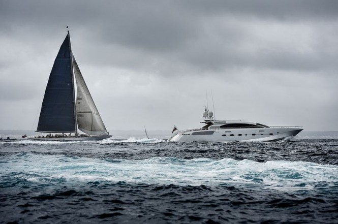 Charter yacht Ranger doing a practice start with Shooting Star Yacht watching