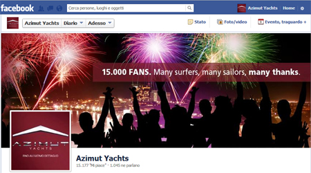 Facebook page of Azimut Yachts