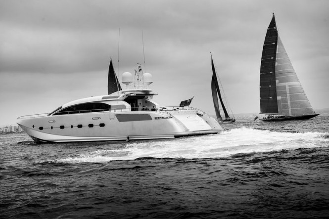 J Class Yachts racing with Danish Yachts superyacht Shooting Star in the foreground