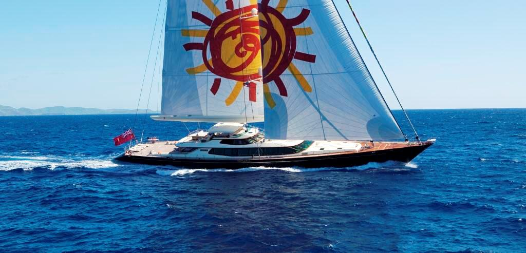 Luxury yacht TIARA under sail