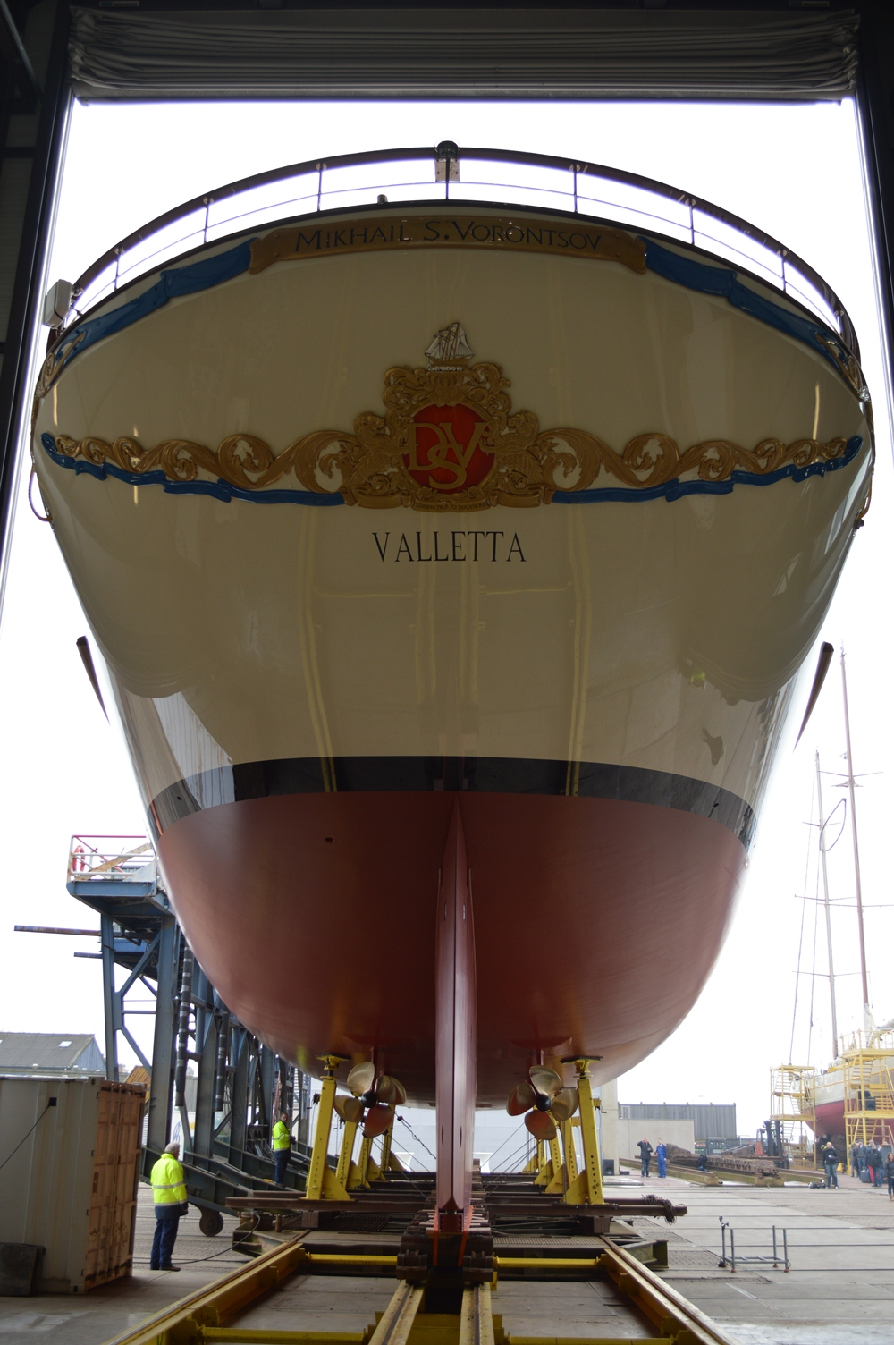 Mikhail S. Vorontsov Yacht ready to hit the water at Balk Shipyard - Image courtesy of Balk Shipyard