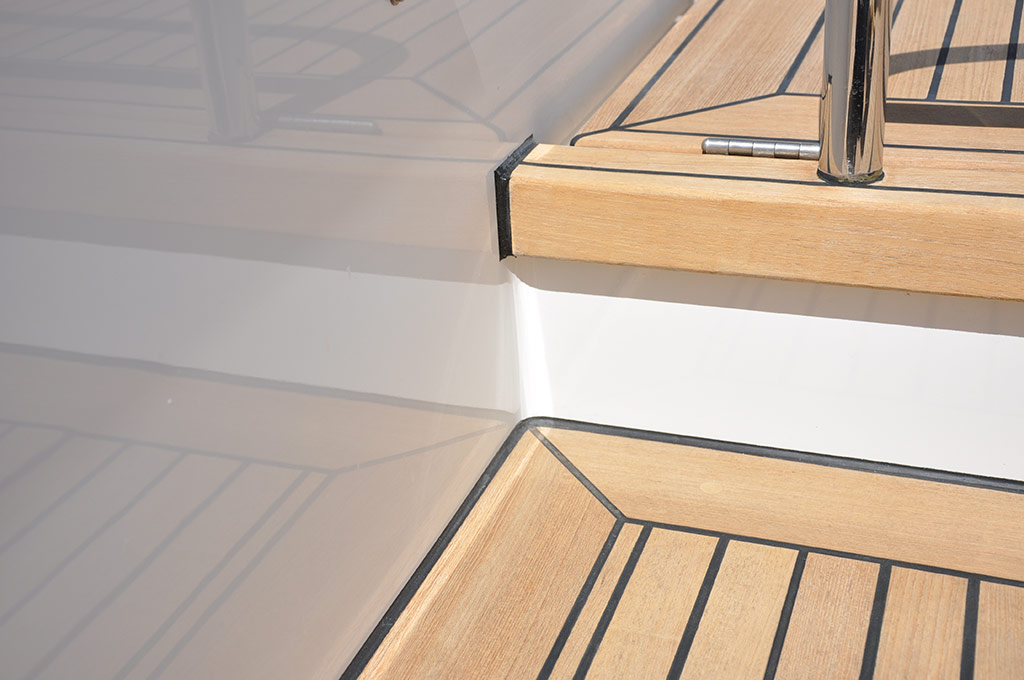 Moonen 94 Alu yacht Ininity - detail after 2012 refit - Image courtesy of Goodacre Boat Repairs and Refits
