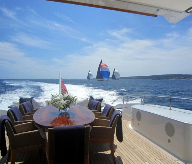 Watching J Class Yachts racing from aft deck of Aerocruiser 38m Yacht