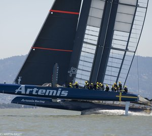 Spectacular debut for Artemis Racing's second AC72 yacht 'Big Blue'