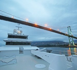 Photos of Nordhavn 120 superyacht AURORA arriving in Vancouver, Canada
