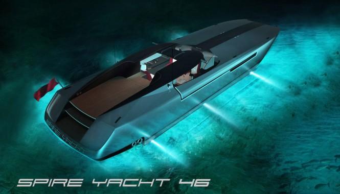 SPIRE YACHT 46 mega yacht chase boat by night