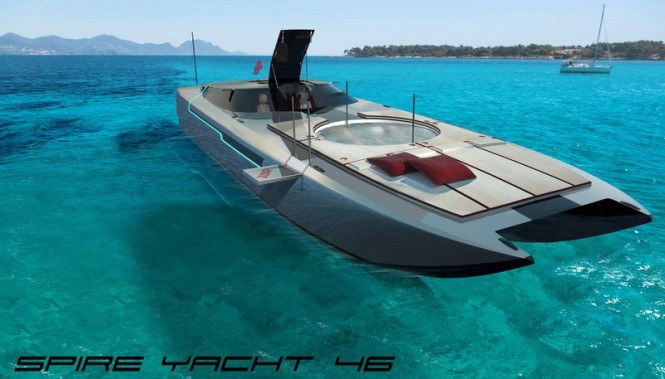 SPIRE YACHT 46 yacht chase boat with hot tub