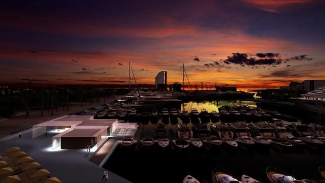 View of Marina Port Vell and the Villa - Copyright 2013 Marina Port Vell
