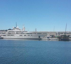Impressive 93m Nobiskrug mega yacht TATOOSH stops at Quaiat Yard in Trieste