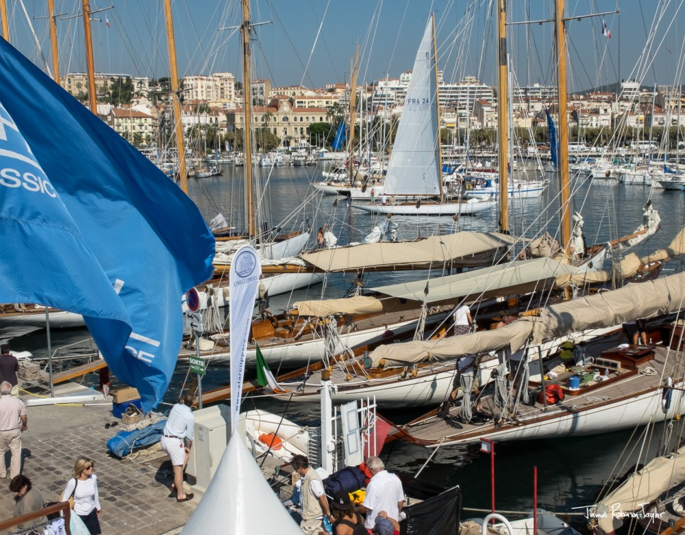 Classic yachts preparing for the start of the 2013 Regates Royales Trophee Panerai