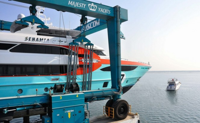 Majesty 135 superyacht Sehamia by Gulf Craft at launch