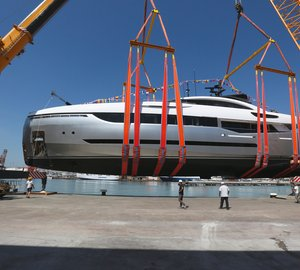Sergio Cutolo-designed Columbus 130 Sport Hybrid Yacht at launch