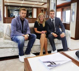 Southampton FC star players join Sunseeker Yachts at Southampton Boat Show