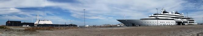 125m mega yacht Katara berthed in front of Danish Yachts