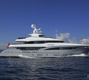 Recently delivered 40m Hakvoort motor yacht APOSTROPHE displayed at Monaco Yacht Show