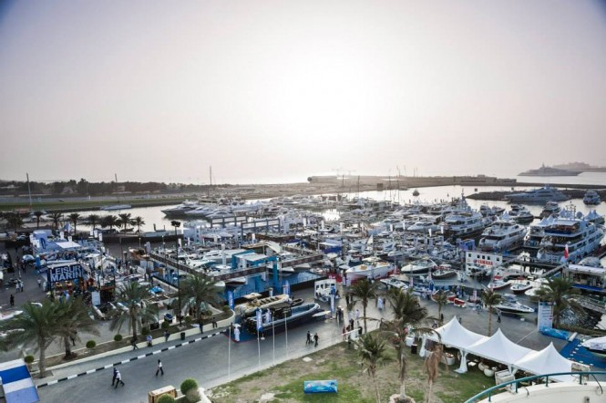 Aerial view of Dubai Boat Show 2013
