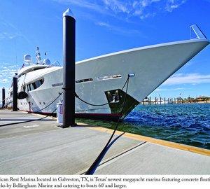 Texas' new superyacht marina featuring concrete floating docks by Bellingham Marine