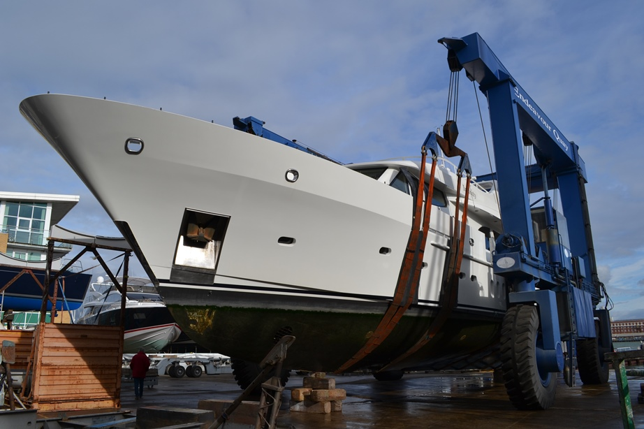 Infinity Yacht ready for being moved into the shed