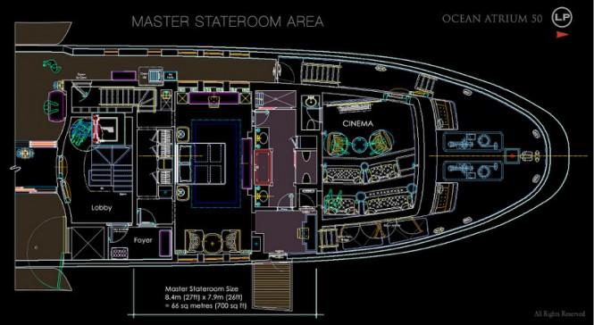 Luxury yacht Ocean Atrium concept - Master Stateroom Area