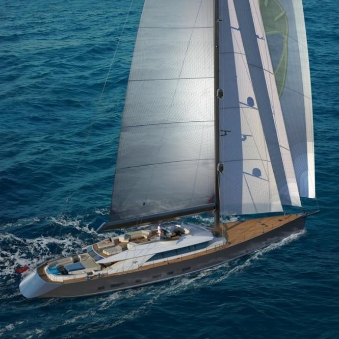 Luxury yacht Troy under sail