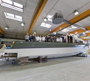 Latest photos of motor yacht Rupert 80 nearing completion at Rupert Marine