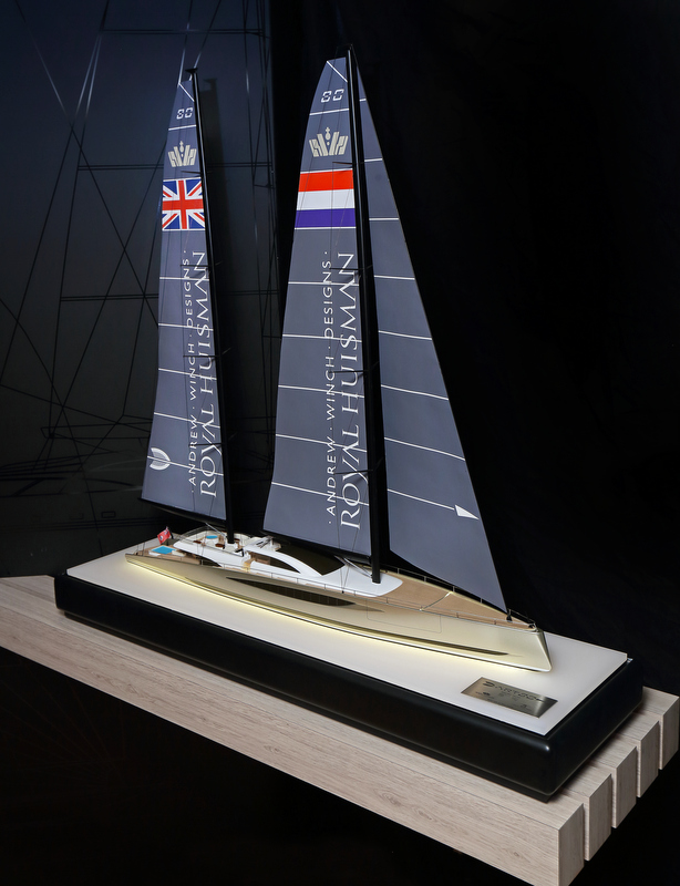 Scale model of 80m sailing yacht DART concept