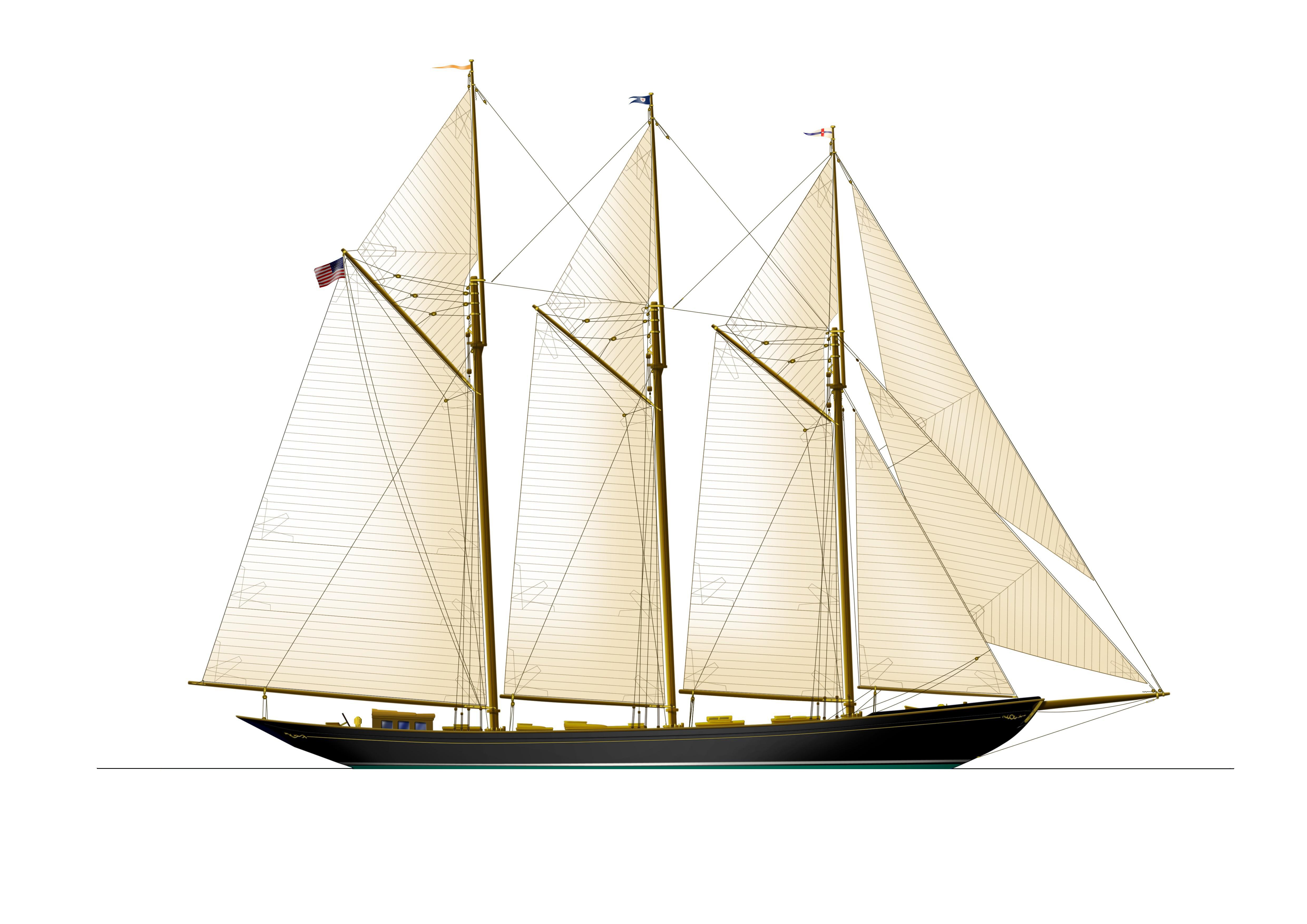 Schooner Wolfhound originally designed by John Alden