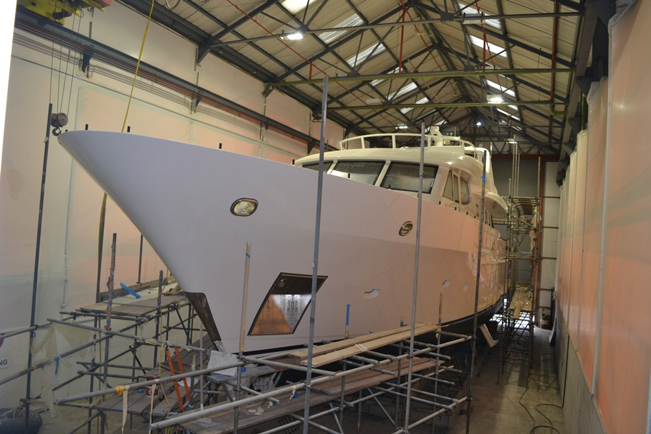 Superyacht Infinity in the shed at Endeavour Quay